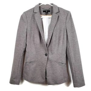 H & M Fitted Stretch Blazer Gray Stretch 1 Button
